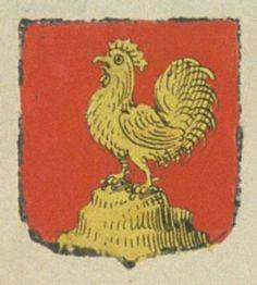 Pierre JAUFFROY, chanoine du Chapitre d'Apt. Porte : de gueules, à un coq d'or, perché sur une montagne de mesme   N° 47