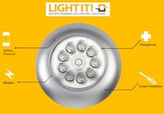 Light It! LED Anywhere 9 LED Light *LED Floodlight Technology™ - Ultra-bright, glare free, ultra-wide coverage *Versatile- Instant lighting solution for any dark space, closet, cabinet, autos, boat, RVs and more. *Quickly detaches for use as portable emergency light. *Easy Installation