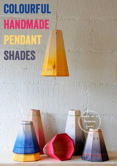 Colourful Handmade Wooden Pendant Shades