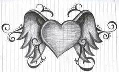 tattoo large heart | winged heart