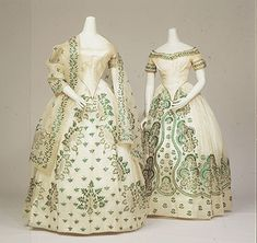 Two evening dresses ornamented with beetle wings
