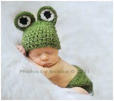 Ravelry: Newborn Froggy Hat & Diaper Cover Set Crochet Pattern pattern by Buttercup Baby Crochet Bebe, Cute Crochet, Knit Crochet, Crochet Hats, Crochet Outfits, Crochet Animals, Half Double Crochet, Single Crochet, Newborn Crochet Patterns