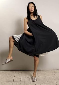 apron dress 100% cotton over organza gathered skirts in black and cream