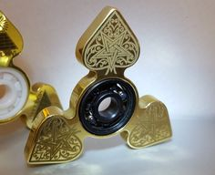 Fidget Spinner 'DEVIL's SPADE' Engraved Spinner Brass Frame, EDC Spinner, Metal Fidget Spinner, Restless Hand Toy