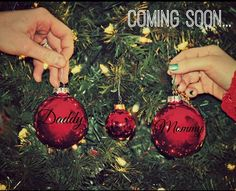 "Christmas pregnancy announcement... give each of the kids their own personalized ornament, then present ""Baby Street 2018"" for their reactions"