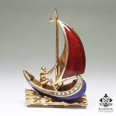 """Antique 18k Gold & Enamel Diamond """"Sailboat"""" Brooch"""