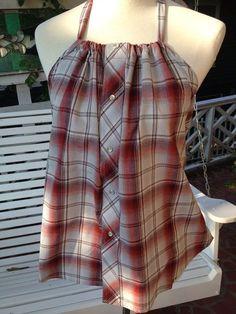Fabriqué à partir dune L Wrangler chemise dhomme, sadapte à une taille femme M/L. La cravate est fabriquée à partir des manches. Fil doux accent