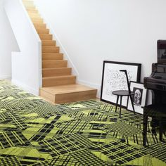 """""""In the Mix - Lime"""" carpet tile by FLOR. Bet Henri would like this. Modern Interior Design, Interior Design Inspiration, Home Decor Inspiration, Interior Architecture, Carpet Tiles, Cafe Interior, Deco Design, Cool Rooms, New Room"""