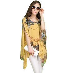 Zeagoo Women's Casual Loose Floral Print Batwing Chiffon Blouse | Fashion Finds from Selena