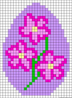 Easter egg flowers perler bead pattern