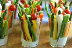 Individual veggie cups w/ homemade Green Goddess dressing - perfect party app!