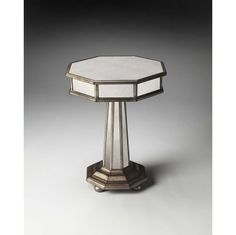 Masterpiece Elena End Table Free Form- Top Mirrored Glass Base Wood- Gray Finish #Butler