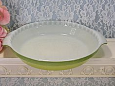 Rare Vintage Anchor Hocking Fire King Two Tone Green Pie Plate Pan