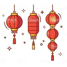 Set of Chinese New Year lanterns, round and cylinder shape. Bullet Journal Design Ideas, Bullet Journal Themes, Bullet Journal Inspiration, Envelope Tattoo, Lantern Drawing, Chinese New Year Background, Asian Quilts, Chinese New Year Design, New Year Designs