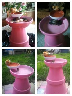 32 Ideas Diy Bird Bath Ideas With Fresh Water To Attract Birds And Everyones Eye, Think about in the event that you have sufficient garlic left to earn something for dinner. The food is cooked instantly, and if something takes more . Flower Pot Crafts, Clay Pot Crafts, Flower Pots, Bird Bath Garden, Diy Bird Bath, Garden Crafts, Garden Projects, Diy Projects, Spring Garden