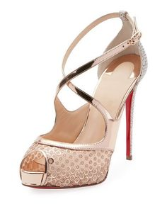 e7de15a4b255 Christian Louboutin Mirabella 120mm Strappy Sequined Red Sole Sandal