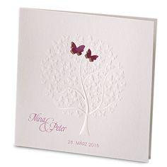 """Hochzeiteinladung """"Nala"""" mit Baummotiv-Schmetterlingen weddix"""