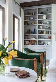 emerald green accent chairs gray built ins wood frame doors laura u