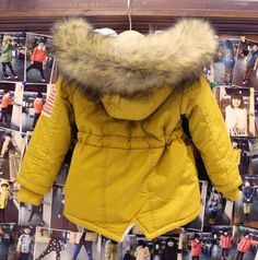 Yellow Parka Jacket for Toddler Boys with Faux Fur Yellow Hoodies Unisex