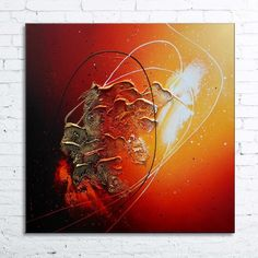 """Tableau abstrait contemporain """"CORONALE"""" toile peinture moderne en relief noir rouge orange jaune doré blanc"""