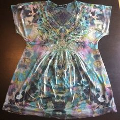 Embellished Top Different shades of blue embellished short sleeve top! EUC Apt. 9 Tops