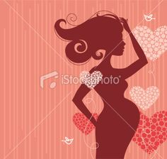 Silhouette of pregnant woman Royalty Free Stock Vector Art Illustration