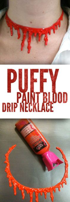 Make your own blood drip necklace using puffy paint. This is made with Tulip Dimensional Fabric paint but it works great for these cling necklaces!