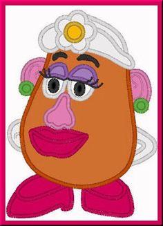 Toy Mrs Potato Head Digitized Embroidery Machine Applique Design | Applicakes - Needlecraft on ArtFire