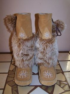 55 Beaded Leather Moccasin Boots shearling & by GreenMarketVintage, $52.00
