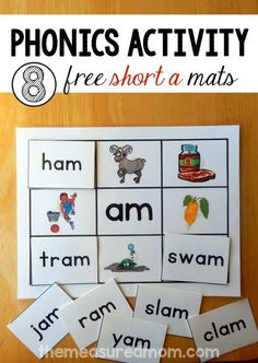 8 Short A Word Family Mats - printable! - The Measured Mom Short Vowel Activities, Word Family Activities, Phonics Activities, Reading Activities, Preschool Phonics, Insect Activities, Jolly Phonics, Reading Games, Reading Resources