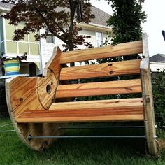 Making your own outdoor furniture with cable spools is easy and you only need to add a few threaded rods and nuts for added support. Your local Builders store stocks everything you need to turn a spool cable into a chair or seat for two.