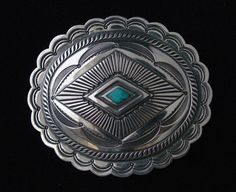 Sterling Silver Concha Buckle w/ Inlaid Kingman Turquoise... Made to Order