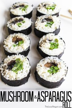Vegan Sushi by The Local Vegan Mushroom and Asparagus Roll, Buffalo Tempeh Roll, The Fresh Roll Sushi Recipes, Whole Food Recipes, Cooking Recipes, Vegan Foods, Vegan Vegetarian, Vegetarian Recipes, Vegan Sushi Rolls, Vegan Art, Veggie Sushi