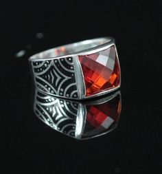 Turkish Handmade Ottoman 925K Sterling Silver Ruby Men's Ring Size 9,10,11,12