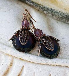 Dark Purple and Copper Filigree Boho Earrings