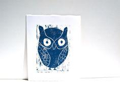 Owl Decor Art Linocut Print - Deep Blue Owl 8x10.  via Etsy from RetroModernArt.