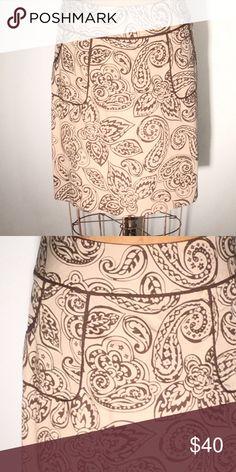 Willi Smith brown/tan paisley poplin mini-pockets Cotton poplin. Size 8. PM636 Willi Smith Skirts Mini