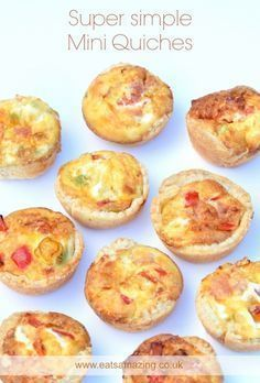 Easy Mini Quiches Recipe Easy recipe for kids – these super simple mini quiches are great for picnics lunch boxes and party food with free printable recipe sheet from Eats Amazing UK Mini Quiches, Mini Pizzas, Snacks Für Party, Appetizers For Party, Nibbles For Party, Easy Meals For Kids, Kids Meals, Baby Food Recipes, Cooking Recipes