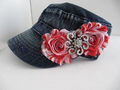 Cadet Hat, Jean Hat, Red White, Military Hat, Women Cadet Caps, Rhinestone Cadet Cap, Womans Hat on Etsy, $23.00