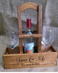 PERSONALIZED Rustic Wood Wine Caddy - Wine Carrier - Wine Tote - Wedding Names - Established Date - Repurposed Wood - House Warming Gift