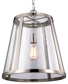 Seeded Glass Transitional Pendant 1 Light - Pendant Lighting - Shades of Light