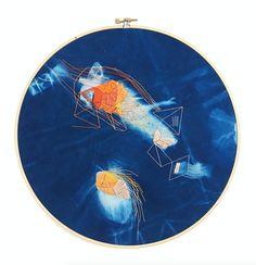 + Handmade indigo cyanotype fabric with embroidered detail + 9″ diameter hoop