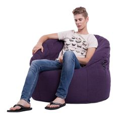 Butterfly Sofa purple bean bag in Aubergine textile fabric. Purple Bean Bags, Bean Bag Uses, Bean Bags Australia, Bean Bag Filling, Bean Bag Furniture, Outdoor Bean Bag, Purple Sofa, Modular Lounges