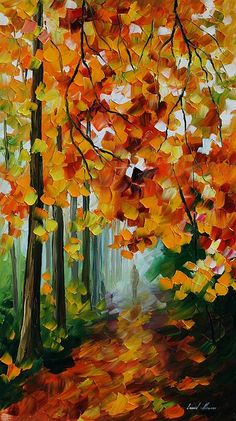 Foggy Forest Painting by Leonid Afremov.