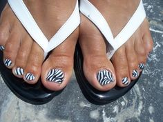 Zebra toes - but just the big toe, rest of them maybe white or black or french would look good. Pedicure Nail Art, Toe Nail Art, Mani Pedi, Pedicure Ideas, Nail Ideas, Cute Toe Nails, Get Nails, Hair And Nails, Zebra Nail Designs