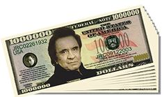 Johnny Cash Novelty Million Dollar Bill - 25 Count with Bonus Clear Protector and Christopher Columbus Bill ** Visit the image link more details.