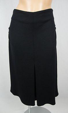 LIDA BADAY Black Skirt 12 L 100% Wool Gathered Sides High Waist Expanding Pleat