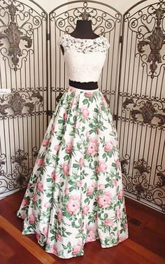 Formal Prom Dresses, asa line ivory pink print beaded lace two piece long prom dress Brickell Bridal Indian Designer Outfits, Designer Dresses, Trendy Dresses, Fashion Dresses, Fashion 2018, Stylish Outfits, Trendy Fashion, Fashion Tips, Lehnga Dress