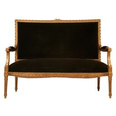 Antique French Louis XVI Gilt Settee w/Mohair. 19th Century.