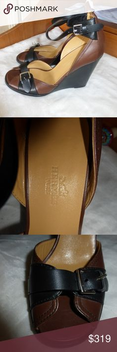 """HERMES LEATHER WEDGE SIZE 36 BROWN & BLACK HERMES LEATHERWEDGE :  size: 36 - 6.5 heel  platform height: 4"""" high  9.25"""" LONG FOLLOWING CONTOUR OR SLOPE OF THE WEDGE.  BUCKLE NEAR TOES AND ANKLE ARE ADJUSTABLE. Hermes Shoes Wedges"""